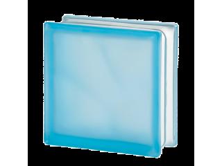 """Голубой матированный стеклоблок """"Волна"""""""