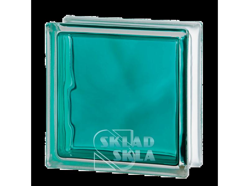 Стеклоблок Seves Brilly Turquoise Wave 1919/8 190х190х80 Прозрачный Бирюзовый