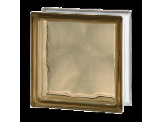 Цветной стеклоблок Волна 1919/8 Wave Brown