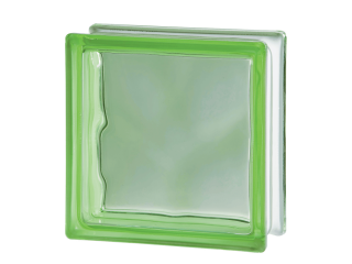 Цветной стеклоблок Волна 1919/8 Wave Green