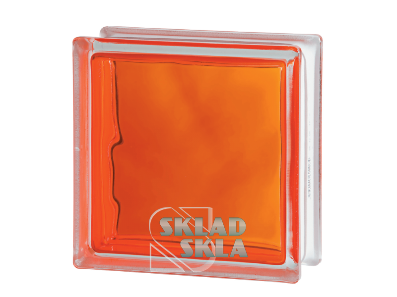 Стеклоблок Seves Brilly Orange Wave 1919/8 190х190х80 Прозрачный Оранжевый