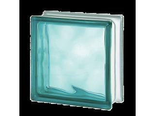 Цветной стеклоблок Волна 1919/8 Wave Turquoise
