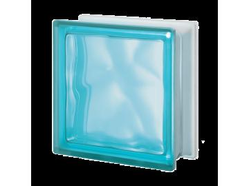Матований склоблок кольоровий аквамарин хвиля Q19O