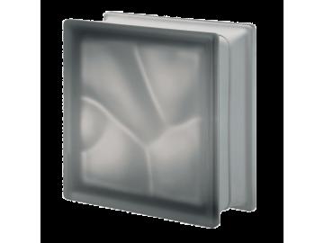Матований склоблок кольоровий сірий хвиля Q19O