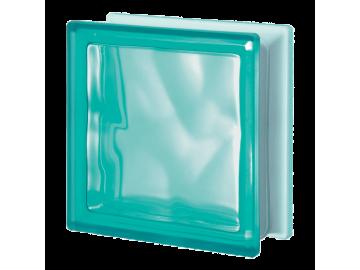 Матований склоблок кольоровий бірюзовий хвиля Q19O