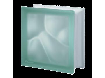 Матований склоблок кольоровий зелений хвиля Q19O